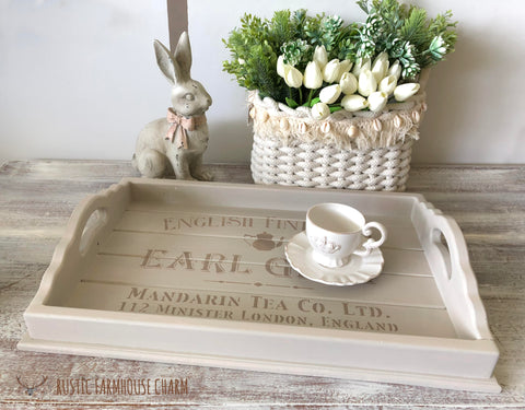 Large Earl Grey English Tea Tray