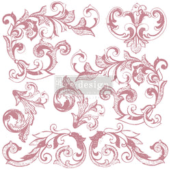 "ELEGANT SCROLLS Redesign Décor Stamp 12""x12"" - Rustic Farmhouse Charm"