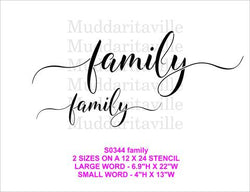 FAMILY SCRIPT Stencil by Muddaritaville (Sheet size: 30.5cm x 61cm)