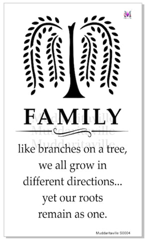 FAMILY TREE Stencil by Muddaritaville (Sheet size: 28.58cm x 48.26cm) - Rustic Farmhouse Charm