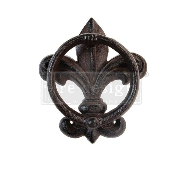 Redesign Cast Iron Door Knocker - FLEUR DE LIS 15.4cm x 13.1cm - Rustic Farmhouse Charm