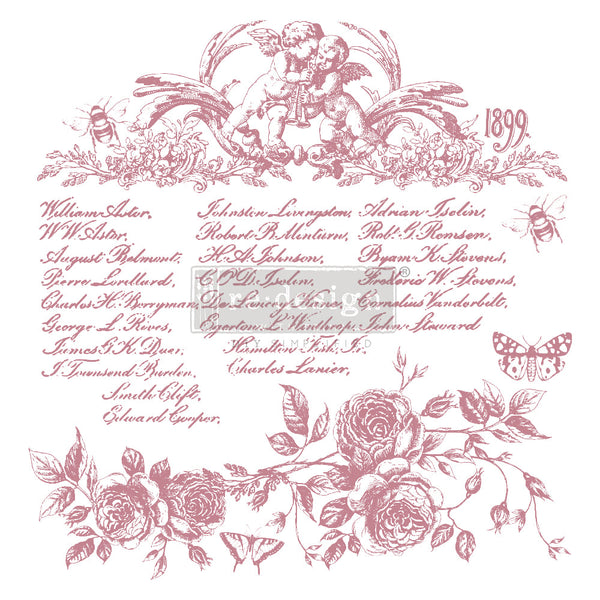 "FLORAL SCRIPT Redesign Décor Stamp 12""x12"" - Rustic Farmhouse Charm"