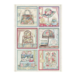 GRAND HOTEL PACKED CARDS Rice Paper by Stamperia (A4)