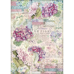 HORTENSIA Rice Paper by Stamperia (A3) - Rustic Farmhouse Charm