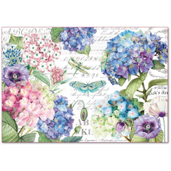 HORTENSIAS AND DRAGONFLIES Rice Paper by Stamperia (48cm x 33cm)