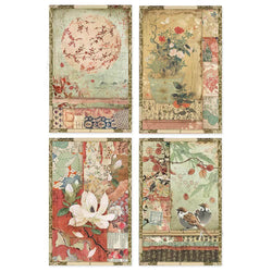 JAPANESE POSTCARDS Rice Paper by Stamperia (A4) - Rustic Farmhouse Charm