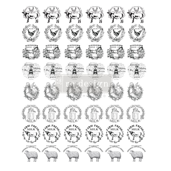 FARM SWEET FARM Redesign Knobs Transfer 27.94cm x 22.86cm - Rustic Farmhouse Charm