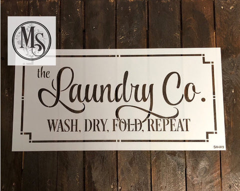 LAUNDRY CO. Stencil by Muddaritaville 25.6cm x 55.9cm