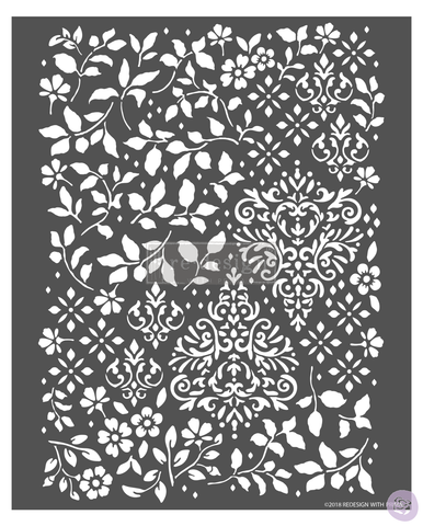 Redesign 3D Stencil - Leaves Damask