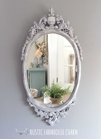 Large Ornately Carved Oval Mirror