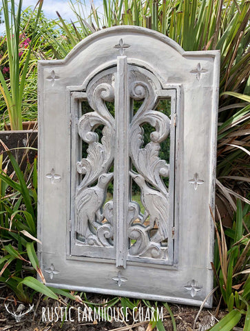 Mirror with Carved Birds Doors - Rustic Farmhouse Charm