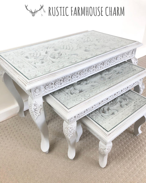Floral Carved Set of 3 Nesting Tables