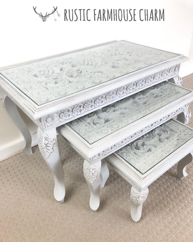Floral Carved Set of 3 Nesting Tables - Rustic Farmhouse Charm