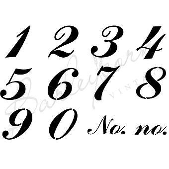 Number Set1 7.5cm height Stencil by Barleycorn Vintage