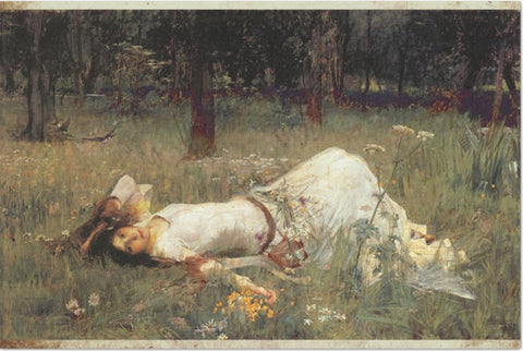 Decoupage Tissue Paper - John Waterhouse Painting 'Ophelia Lying in the Meadow' (50.8cm x 76.2cm) - Rustic Farmhouse Charm