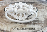 HANDLE - Ornate Drawer Pull, White - Rustic Farmhouse Charm