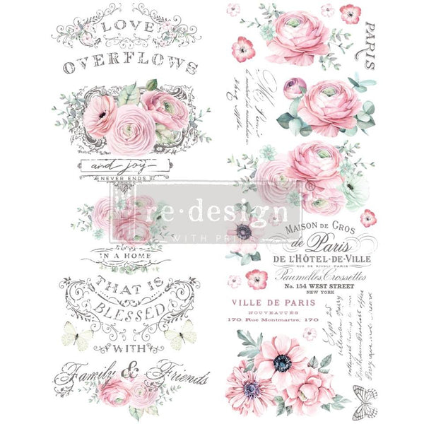 OVERFLOWING LOVE Redesign Transfer (76.2cm x 55.9cm) - Rustic Farmhouse Charm