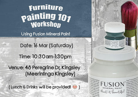Furniture Painting 101 with Fusion™ products (16 Mar, Sat) - Rustic Farmhouse Charm