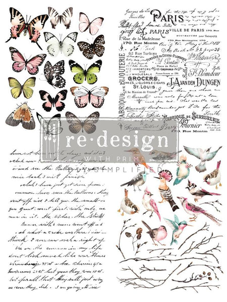 PARISIAN BUTTERFLIES Redesign Transfer - Rustic Farmhouse Charm