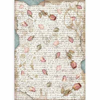 ROSE PETALS Rice Paper by Stamperia (A4) - Rustic Farmhouse Charm