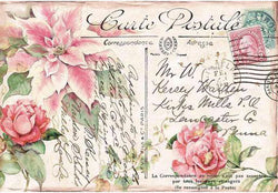 POINSETTIA PINK Rice Paper by Stamperia (48cm x 33cm) - Rustic Farmhouse Charm