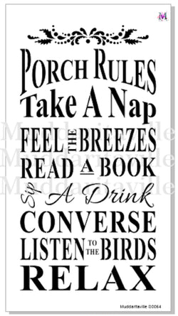 PORCH RULES Stencil by Muddaritaville (Sheet size: 28.58cm x 53.34cm)