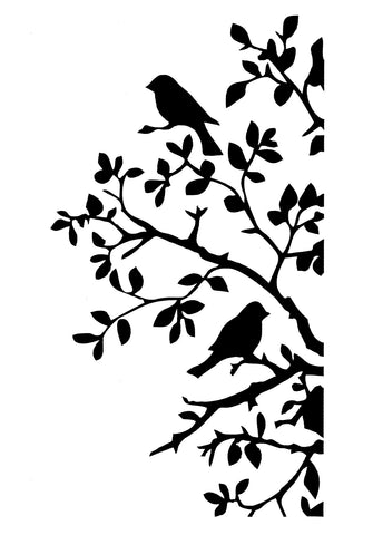 BIRDS & BENDY BRANCHES Stencil by Posh Chalk Interiors (A4) - Rustic Farmhouse Charm