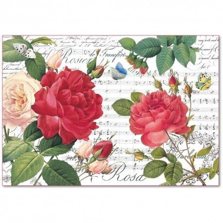 RED ROSES & MUSIC Rice Paper by Stamperia (48cm x 33cm) - Rustic Farmhouse Charm