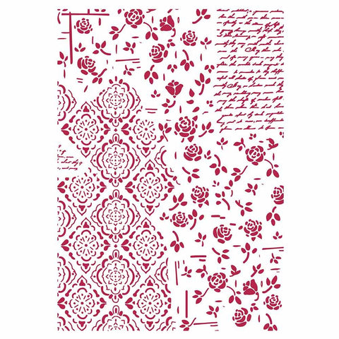 ROSES & DECORATIONS Stencil by Stamperia (29.7cm x 21cm) - Rustic Farmhouse Charm