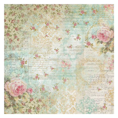 ROSES & WRITINGS Rice Paper Napkin by Stamperia (50cm x 50cm)