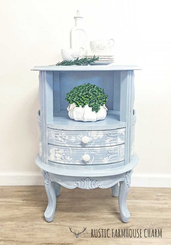 Floral Carved Indian Side Table with Drawers - Rustic Farmhouse Charm