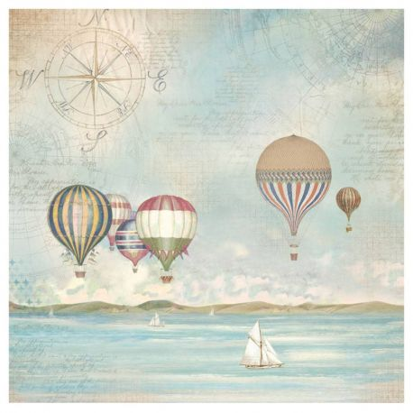SEA LAND BALLOONS Rice Paper Napkin by Stamperia (49.5cm x 49.5cm) - Rustic Farmhouse Charm