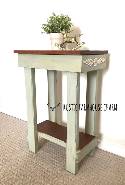 Small Farmhouse Side Table - Rustic Farmhouse Charm