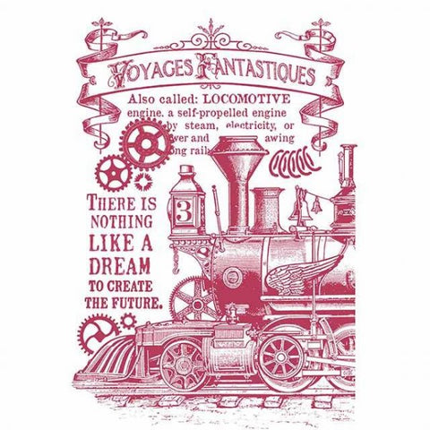 STEAM TRAIN Stencil by Stamperia (29.7cm x 21cm)