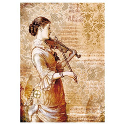 STEAMPUNK WOMAN WITH VIOLIN Rice Paper by Stamperia (A4)