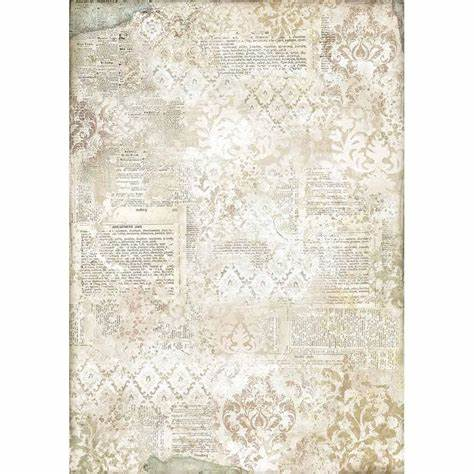 STENCIL ON DICTIONARY Rice Paper by Stamperia (A3) - Rustic Farmhouse Charm