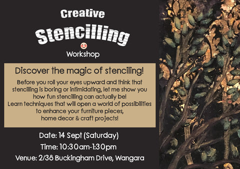 "Workshop: ""Creative Stencilling"" (14 September 2019, Sat) - Rustic Farmhouse Charm"