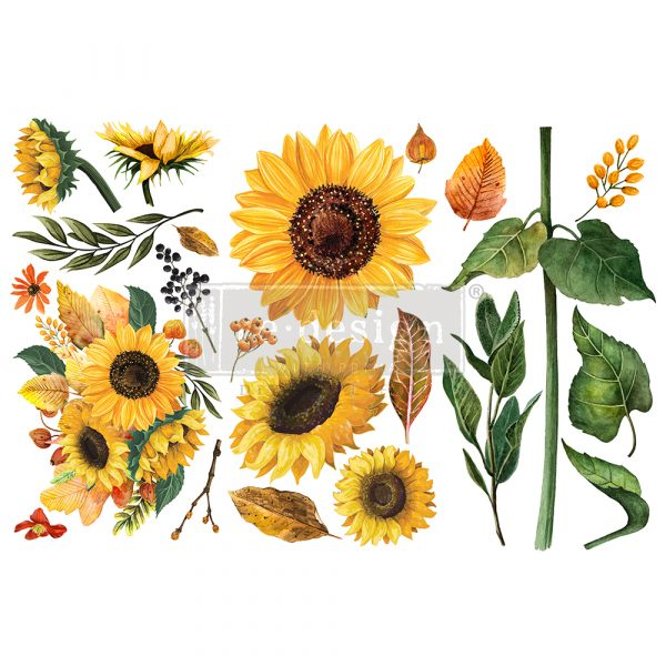 SUNFLOWER AFTERNOON Redesign Transfer (3 sheets, each 15.24cm x 30.48cm)