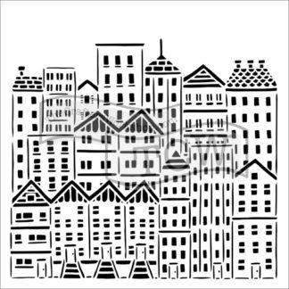 "CITY BUILDINGS Stencil by The Crafters Workshop 12"" x 12"" - Rustic Farmhouse Charm"