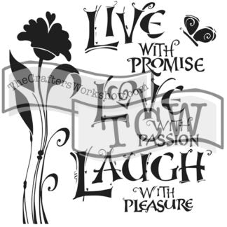 "LIVE LOVE LAUGH Stencil by The Crafters Workshop (12""x12"") - Rustic Farmhouse Charm"