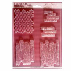 TEXTURE BRICKS & WOOD Soft Maxi Mould by Stamperia (A4)
