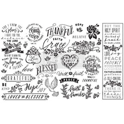 THANKFUL & BLESSED Redesign Decoupage Paper (76.2cm x 48.26cm) - Rustic Farmhouse Charm