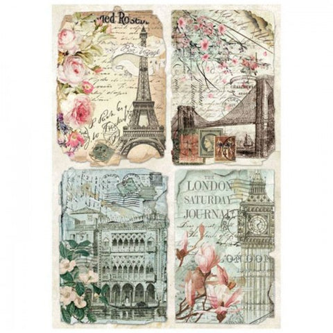 VINTAGE POSTCARDS Rice Paper by Stamperia (A4) - Rustic Farmhouse Charm