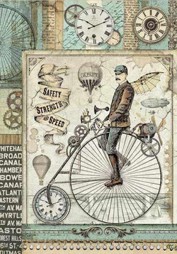 VOYAGES FANTASTIQUES RETRO BICYCLE Rice Paper by Stamperia (A4)