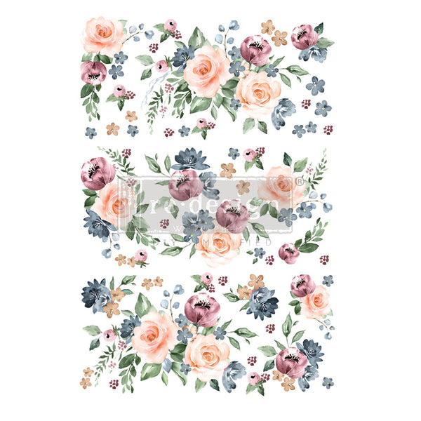 WATERCOLOUR BLOOM Redesign Transfer (60.96cm x 88.9cm) - Rustic Farmhouse Charm