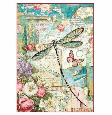 WONDERLAND DRAGONFLY Rice Paper by Stamperia (A4) - Rustic Farmhouse Charm