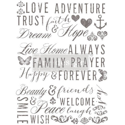 WORDS TO LIVE BY Redesign Transfer (81.3cm x 61cm) - Rustic Farmhouse Charm