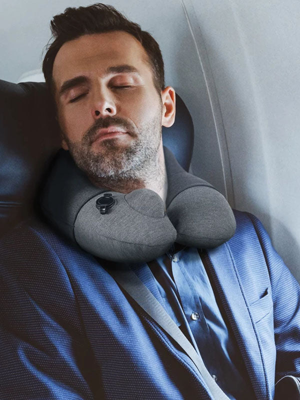 Travelmall Inflatable Neck Pillow With Patented 3D Pump in Black Color