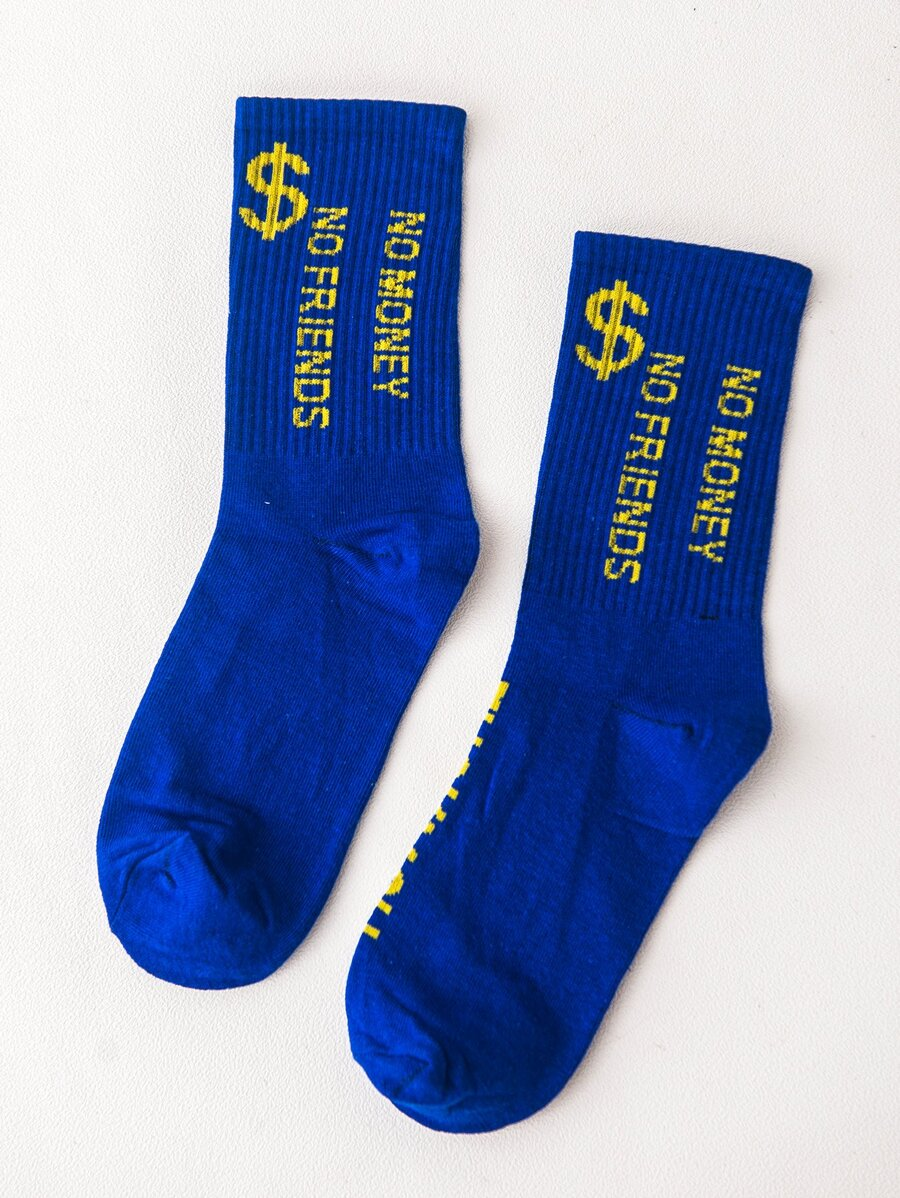 No Money No Friends Socks in Blue Color