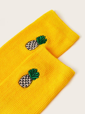Embroidered Pineapple Socks